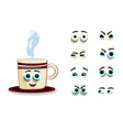 cute cartoon steaming cup with set of eyes vector image