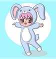 cute little girl wearing a rabbit costume vector image vector image