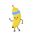 cute smiling happy strong banana running vector image vector image