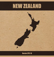 detailed map of new zealand on craft paper vector image