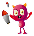devil with rockets on white background vector image vector image