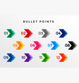 direction number bullet points from one to twelve vector image vector image