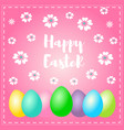 easter greeting card with wish - happy vector image