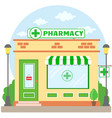 facade pharmacy store with a signboard awning and vector image vector image