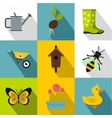 Garden icons set flat style vector image vector image