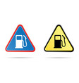 gas pump triangular road sign vector image