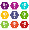 global travel concept icon set color hexahedron vector image vector image