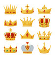 gold royal crowns set monarchy and authority vector image vector image