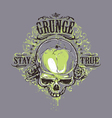 grunge skull print 2 vector image vector image