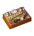 hand drawn japan sushi set on wooden deck vector image