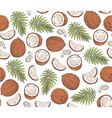 hand drawn seamless pattern with coconuts and vector image vector image