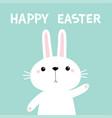 happy easter rabbit bunny waving paw print hand vector image vector image