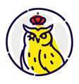 icon an owl flat icon wise owl in crown vector image vector image