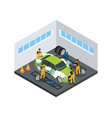 isometric carwash service concept vector image vector image