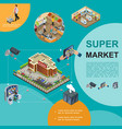 isometric modern supermarket template vector image vector image
