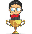 Kid Making Success Fist on Achievement Trophy vector image vector image