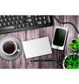 modern workspace set with stationery vector image vector image