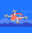 multicopter in sky flying drone gadget vector image