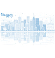 Outline Chongqing Skyline with Blue Buildings vector image vector image