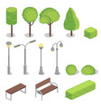 park elements 3d isometric vector image
