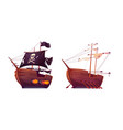 pirate ship and slave galley with oars isolated vector image vector image