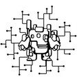 robot circuits cartoon line drawing vector image