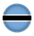 round metallic flag of botswana with screws vector image vector image