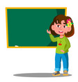 schoolgirl standing near a school board in the vector image vector image