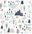 seamless childish pattern with trees mountains vector image