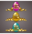 Set of Easter eggs with ribbons vector image