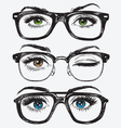 Set of hand drawn womens eyes with glasses vector image