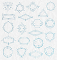 Set of Line art hipster frames on a creased paper vector image vector image