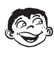 simple black and white smiling boy head vector image vector image