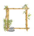 sketch bamboo frame with zen pebble vector image