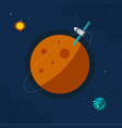 spaceship satellite flying around another planet vector image