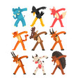 various animals standing in dub dancing poses set vector image vector image