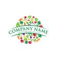 vegan food icon logo design fresh food logo vector image vector image