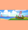 woman planting flowers in old boat on sea beach vector image vector image