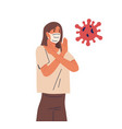 young woman in face mask female character fight vector image vector image