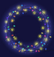 garland frame with colorful lights vector image
