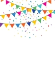 Holiday background with garland and confetti vector image