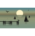 Silhouette of ship and bird vector image