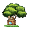 A small house under the tree with a girl outside vector image vector image
