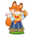 animated fox in clothes isolated on white vector image vector image
