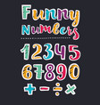beautiful print on bold font numbers for kids vector image vector image