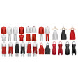 big set culinary clothing white and red suits vector image