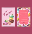 birthday card template with colored hand vector image