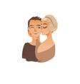cartoon young couple kissing vector image