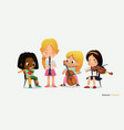 children girl orchestra play different music vector image vector image