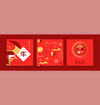 chinese new year ox 2021 red gold pattern card set vector image vector image